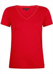T-shirt met V-hals en Lurex Strepen