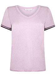 Lurex T-shirt met V-hals