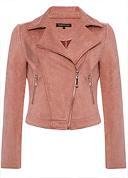 Oudroze Suedine Bikerjacket