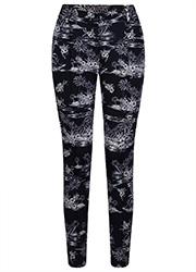 Travel Pantalon met Tropische Zwarte Print