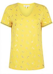 Geel T-shirt met Zilveren Print
