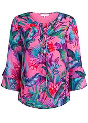 Roze Ruffle Blouse met Tropische Print
