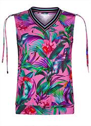 Roze Mouwloze Top met Tropische Print