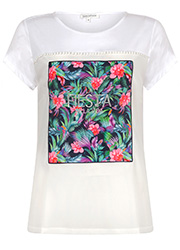 Wit T-shirt met Tropische Opdruk