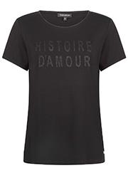 Zwart T-shirt met Lurex Tekst