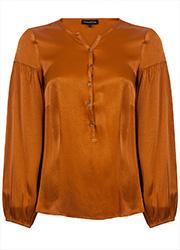 Satijnen blouse met Pofmouwen