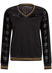 Sweater met Fluwelen Mouwen