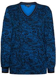 Top met Blauwe Paisley Print