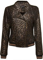 Suedine Bikerjacket met Luipaardprint