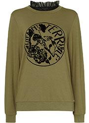 Sweater met Velours en Ruches Kraag