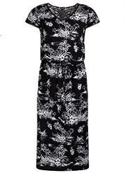 Midi Jurk met Tropische Zwarte Print