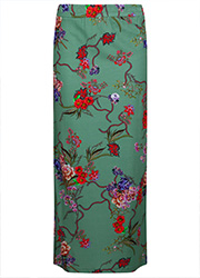 Groene Maxi Rok met Bloemenprint