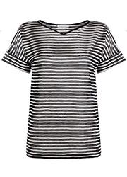 Gestreept T-shirt met V-hals