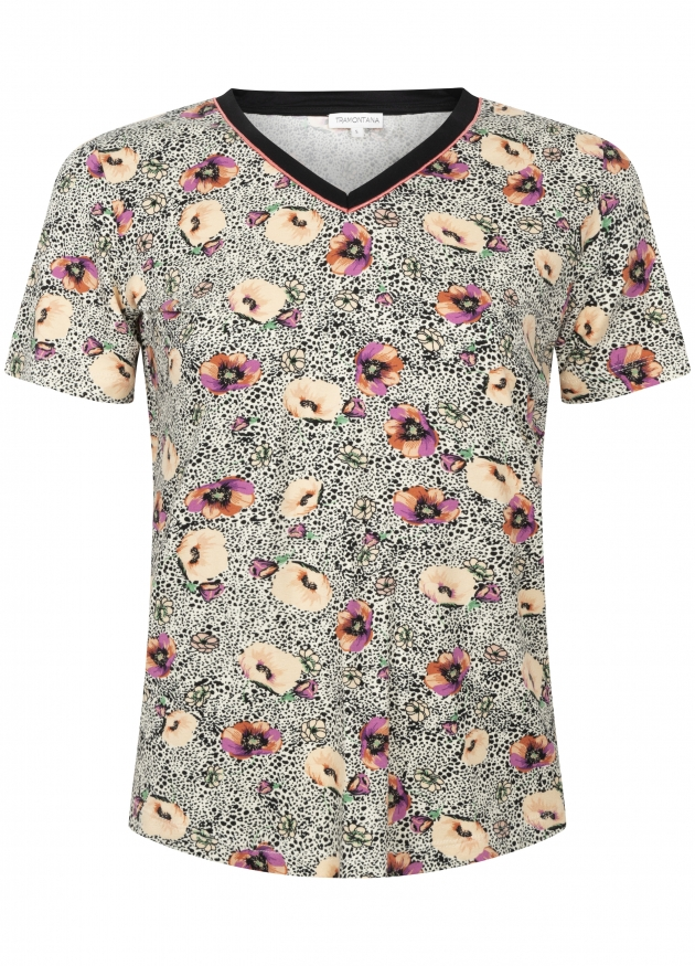 Tramontana-Animal T-shirt met Bloemenprint-D27-94-402