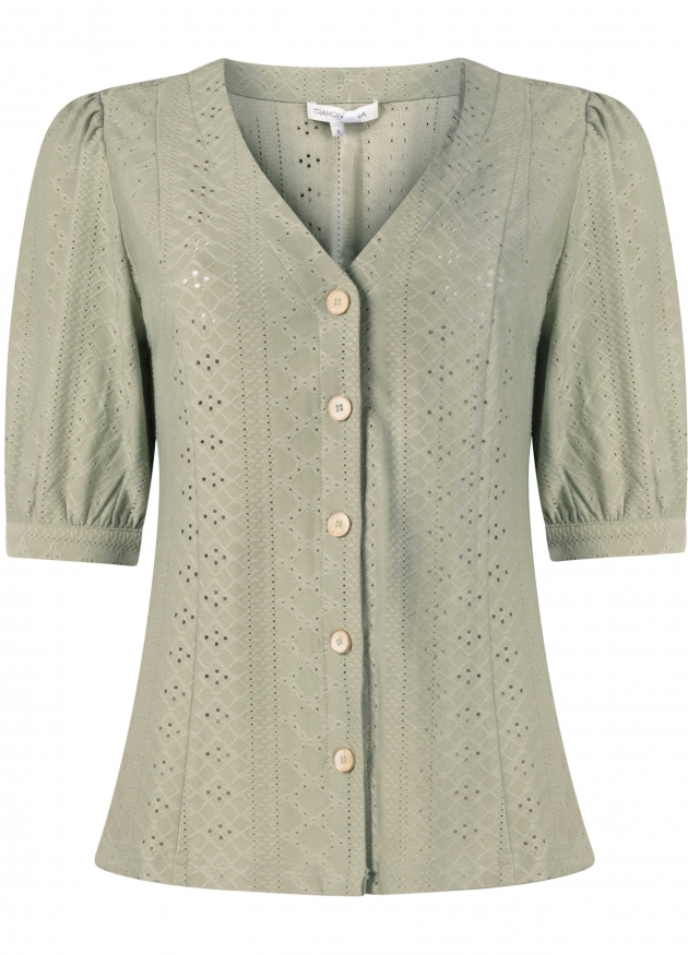 Tramontana-Jersey Broderie Blouse -C11-99-401
