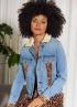 Tramontana-Jeans Jacket met Suedine Mix-Q07-01-801-5