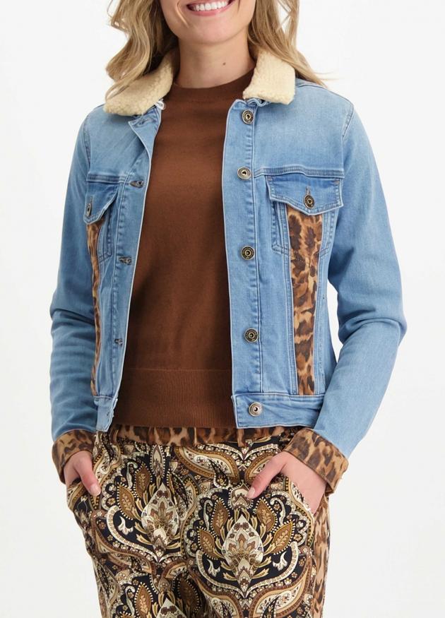 Tramontana-Jeans Jacket met Suedine Mix-Q07-01-801